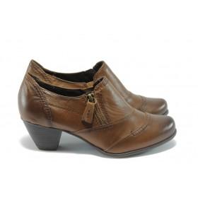 Дамски обувки на среден ток - естествена кожа - кафяви - EO-4567