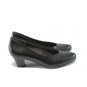 Дамски обувки на среден ток - естествена кожа - черни - EO-4633