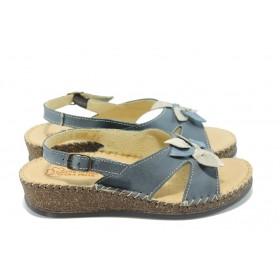 Дамски сандали - естествена кожа - сини - EO-4559