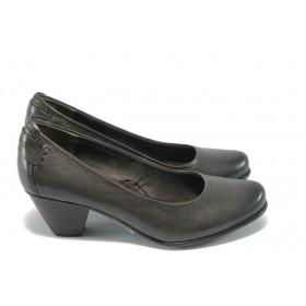 Дамски обувки на среден ток - естествена кожа - сиви - EO-4635
