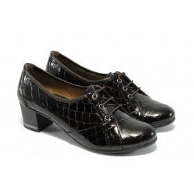"""Дамски обувки на среден ток - естествена кожа с """"кроко"""" мотив - кафяви - EO-4669"""