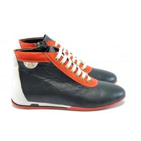 Равни дамски обувки - естествена кожа - сини - EO-4268