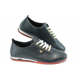 Равни дамски обувки - естествена кожа - сини - EO-4674