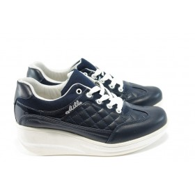 Дамски обувки на платформа - еко-кожа - сини - EO-4678