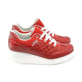 Дамски обувки на платформа - еко-кожа - червени - EO-4676