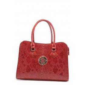 """Дамска чанта - еко-кожа с """"кроко"""" мотив - червени - СБ 1124 червена анаконда"""