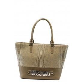 Дамска чанта - висококачествена еко-кожа - бежови - EO-5050