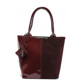 Дамска чанта - висококачествен еко-велур и еко кожа-лак - бордо - EO-5396