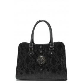 """Дамска чанта - естествена кожа с """"кроко"""" мотив - черни - EO-5542"""