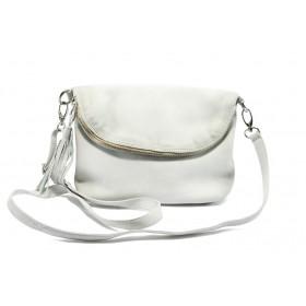 Дамска чанта - естествена кожа - бели - EO-5646