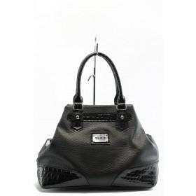 """Дамска чанта - еко-кожа с """"кроко"""" мотив - черни - EO-2636"""