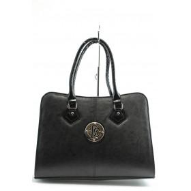 Дамска чанта - висококачествена еко-кожа - черни - СБ 1124 черна кожа