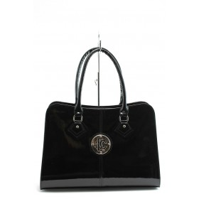 Дамска чанта - еко кожа-лак - черни - СБ 1124 черен лак