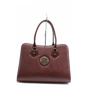 Дамска чанта - висококачествена еко-кожа - бордо - СБ 1124 бордо