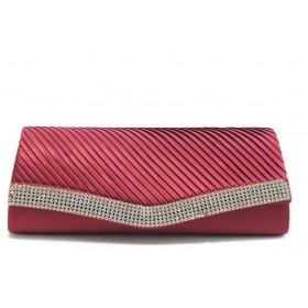 Дамска чанта - сатен - червени - EO-3471