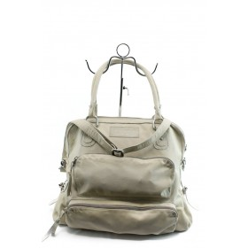 Дамска чанта - естествена кожа - бели - EO-4107