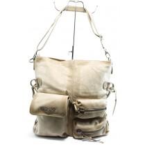 Дамска чанта - естествена кожа - бежови - EO-4106