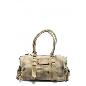 Дамска чанта - естествена кожа - бежови - EO-4283