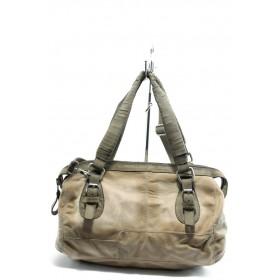 Дамска чанта - естествена кожа - бежови - EO-4341