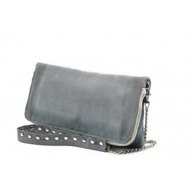 Дамска чанта - естествена кожа - сини - EO-4346