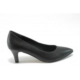 Дамски обувки на среден ток - висококачествена еко-кожа - черни - EO-4634