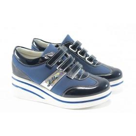 Дамски обувки на платформа - еко-кожа - сини - EO-4645