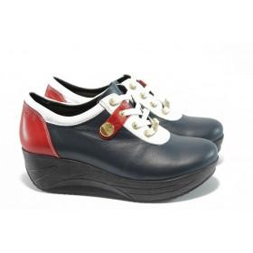 Дамски обувки на платформа - естествена кожа - сини - EO-4644