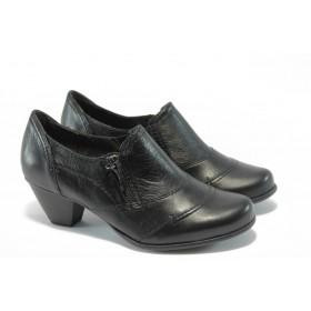 Дамски обувки на среден ток - естествена кожа - черни - EO-2965