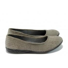 Равни дамски обувки - висококачествен еко-велур - сиви - EO-4358