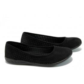 Равни дамски обувки - висококачествен текстилен материал - черни - EO-6258