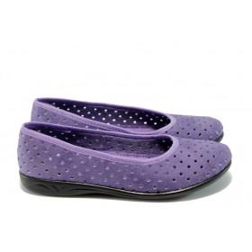 Равни дамски обувки - висококачествен еко-велур - лилави - EO-4424