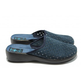 Дамски чехли - висококачествен еко-велур - сини - EO-4421