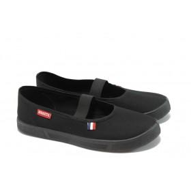 Равни дамски обувки - висококачествен текстилен материал - черни - EO-4473