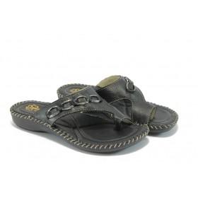 Дамски чехли - естествена кожа - черни - EO-4430