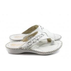 Дамски чехли - естествена кожа - бели - EO-4548