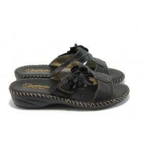 Дамски чехли - естествена кожа - черни - EO-4383