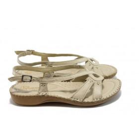 Дамски сандали - естествена кожа - бежови - EO-4546