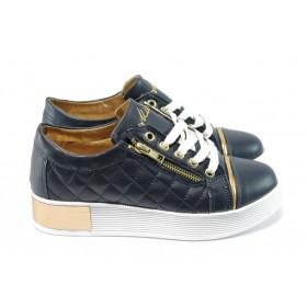 Дамски обувки на платформа - еко-кожа - сини - EO-4694
