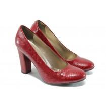 """Дамски обувки на висок ток - еко-кожа с """"кроко"""" мотив - червени - EO-8171"""