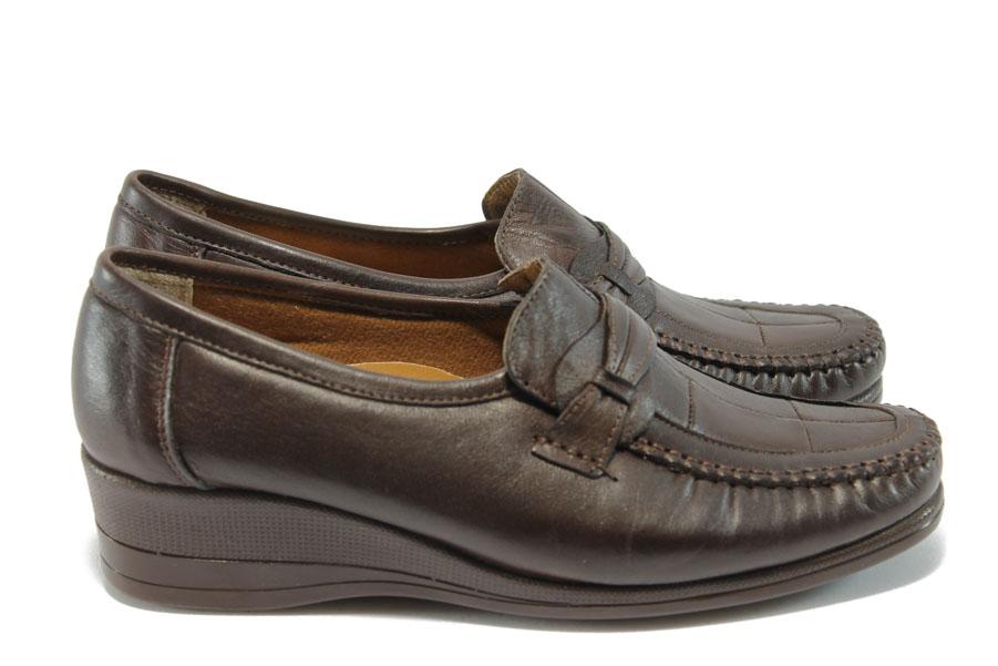 Дамски обувки на платформа - естествена кожа - кафяви - EO-5852