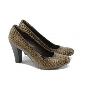 Дамски обувки на висок ток - висококачествена еко-кожа - бежови - EO-4792