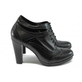 Дамски обувки на висок ток - естествена кожа - черни - EO-4784