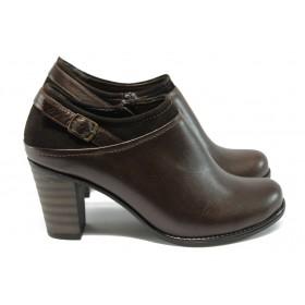 Дамски обувки на висок ток - естествена кожа с естествен велур - кафяви - EO-4817
