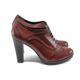 Дамски обувки на висок ток - естествена кожа - бордо - EO-4828