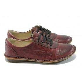 Равни дамски обувки - естествена кожа - бордо - EO-4930