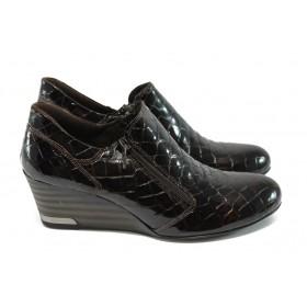 """Дамски обувки на платформа - естествена кожа с """"кроко"""" мотив - тъмнокафяв - EO-4925"""
