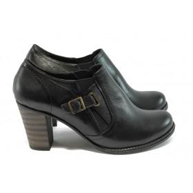 Дамски обувки на висок ток - естествена кожа - черни - EO-4931