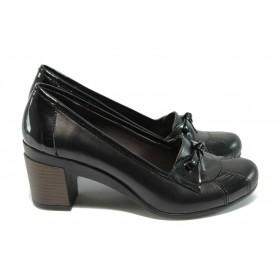 Дамски обувки на среден ток - естествена кожа - черни - EO-4934