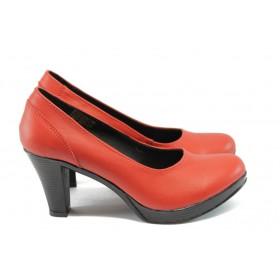 Дамски обувки на висок ток - естествена кожа - червени - EO-4936