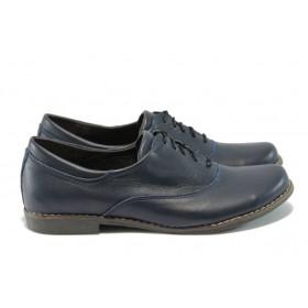 Равни дамски обувки - естествена кожа - сини - EO-4975